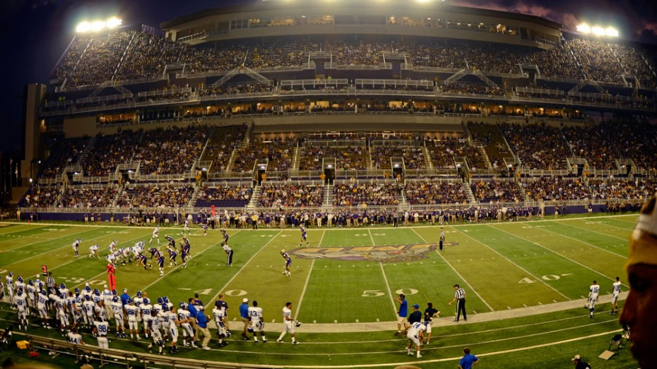 A night football game in James Madison